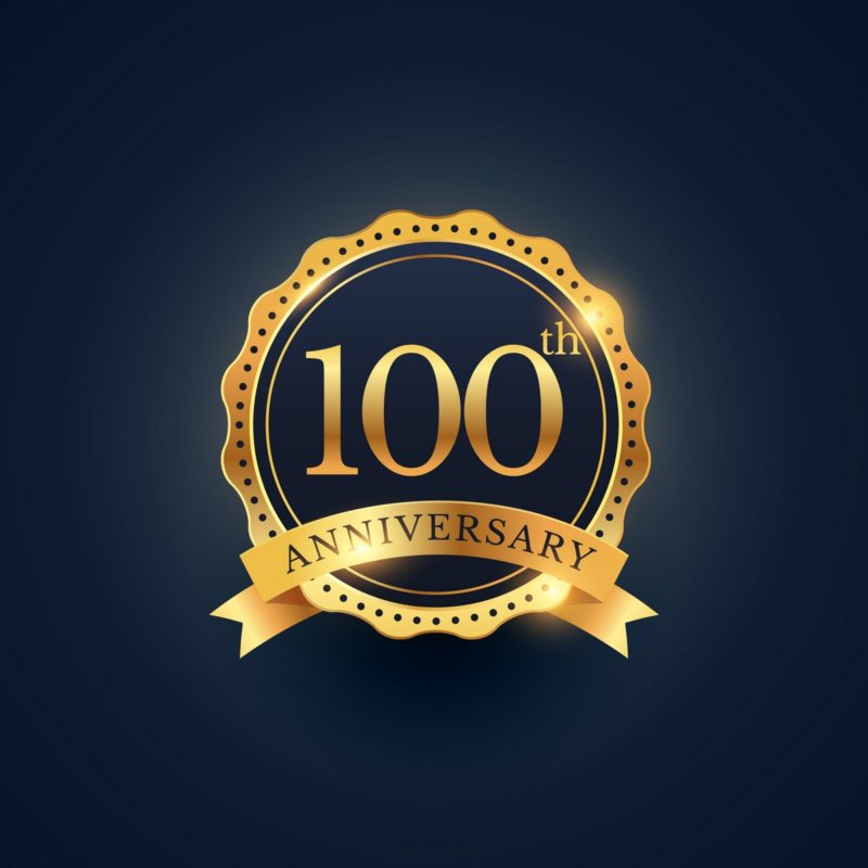 100th anniversary celebration badge label in golden color