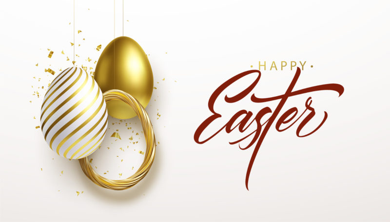 Happy Easter lettering background with 3D realistic golden glitter decorated eggs, confetti. Vector illustration